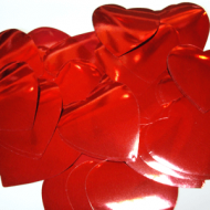 Метафан металлизированный красно-серебристые сердечки MF-1