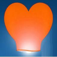 Небесные фонарик сердце малое красное